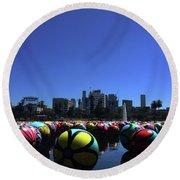 Dusk Finds The Spheres Of Macarthur Park Round Beach Towel