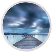 Dusk In Blue Satin Round Beach Towel