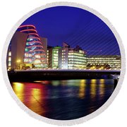 Dusk In Dublin Round Beach Towel