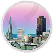 Round Beach Towel featuring the photograph Dusk In San Francisco by Bill Gallagher