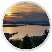 Round Beach Towel featuring the photograph Dusk, Mooselookmeguntic Lake, Rangeley, Maine -63362-63364 by John Bald