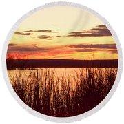 dusk on Lake Superior Round Beach Towel