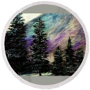 Dusk On Purple Mountain Round Beach Towel