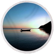Dusk On The Island Of Korovou Fiji   Round Beach Towel