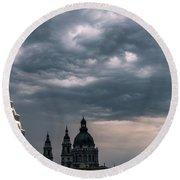 Round Beach Towel featuring the photograph Dusk Over Budapest by Alex Lapidus