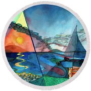 Dusk Over The Chesapeake Round Beach Towel