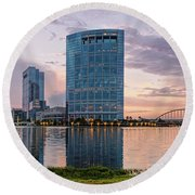 Dusk Panorama Of The Woodlands Waterway And Anadarko Petroleum Towers - The Woodlands Texas Round Beach Towel