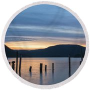 Dusk Sentinels Round Beach Towel