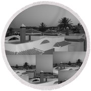 Round Beach Towel featuring the photograph Dusky Rooftops by Linda Prewer