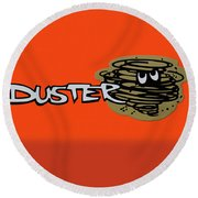 Round Beach Towel featuring the photograph Duster Emblem by Mike McGlothlen
