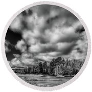 Round Beach Towel featuring the photograph Dusting Of Snow On The River by David Patterson