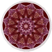 Dusty Rose Mandala Fractal Panel Round Beach Towel