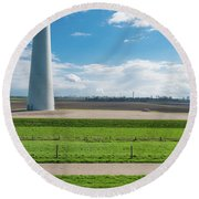 Dutch Landscape With Windmill Round Beach Towel