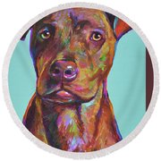 Round Beach Towel featuring the painting Dutch, The Brindle Mix by Robert Phelps