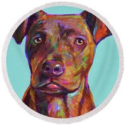 Round Beach Towel featuring the painting Dutch, The Pit Bull Pup by Robert Phelps