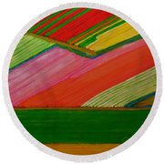 Dutch Tulip Fields Round Beach Towel
