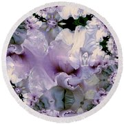 Round Beach Towel featuring the photograph Duvet Iris Fractal by Robert Kernodle