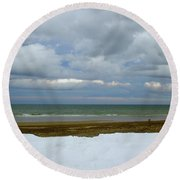 Round Beach Towel featuring the photograph Duxbury Beach 3rd Crossover by Amazing Jules