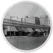 Round Beach Towel featuring the photograph Dyckman Street, 1927 by Cole Thompson