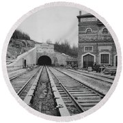 Round Beach Towel featuring the photograph Dyckman Street Station by Cole Thompson
