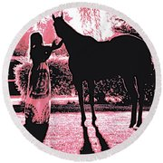 Dylly And Lizzy Pink Round Beach Towel