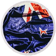 Dynamic Flag Of New Zealand Round Beach Towel