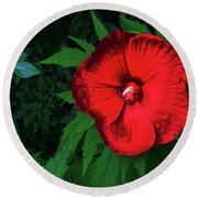 Dynamic Red Round Beach Towel