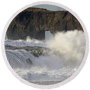 Dyrholaey Arch From Reynisfjara Beach 6858 Round Beach Towel