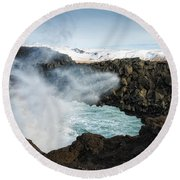 Round Beach Towel featuring the photograph Dyrholaey Rock Arch Iceland by Matthias Hauser