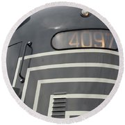 Round Beach Towel featuring the photograph E M D E8 Diesel Locomotive by John Schneider