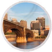 Eads Bridge At St Louis Round Beach Towel