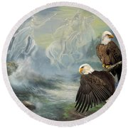 Eagels And Native American  Spirit Riders Round Beach Towel