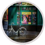 Round Beach Towel featuring the photograph Eager Beaver Bicycle by Craig J Satterlee