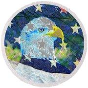 Round Beach Towel featuring the digital art Eagle Americana by David Lee Thompson
