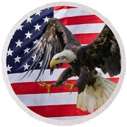 Eagle And Flag Round Beach Towel by Scott Carruthers