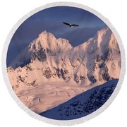 Eagle And Mountains Round Beach Towel