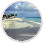 Eagle Beach Aruba Round Beach Towel by Suzanne Stout