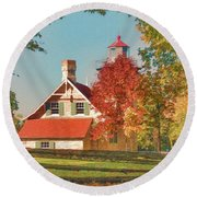 Eagle Bluff Lighthouse_1 Round Beach Towel