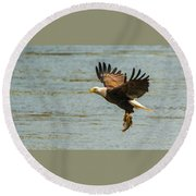 Eagle Departing With Prize Close-up Round Beach Towel by Jeff at JSJ Photography