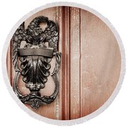 Eagle Door Knocker Round Beach Towel