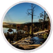 Round Beach Towel featuring the photograph Eagle Falls Sunrise by Mitch Shindelbower