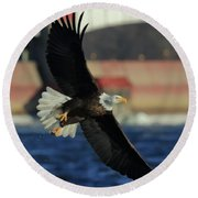 Round Beach Towel featuring the photograph Eagle Flying by Coby Cooper
