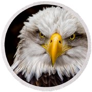 Defiant And Resolute - Bald Eagle Round Beach Towel