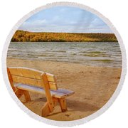 Round Beach Towel featuring the photograph Eagle Harbor Summer Is Over by Heidi Hermes