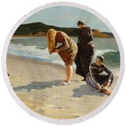Round Beach Towel featuring the painting Eagle Head, Manchester, Massachusetts - 1870 by Winslow Homer