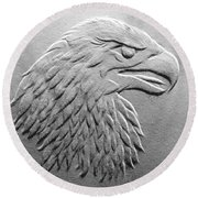 Eagle Head Relief Drawing Round Beach Towel by Suhas Tavkar