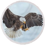 Eagle In The Clouds Round Beach Towel by CR Courson
