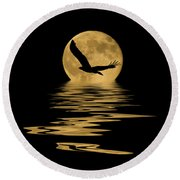 Eagle In The Moonlight Round Beach Towel by Shane Bechler