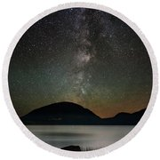 Eagle Lake And The Milky Way Round Beach Towel
