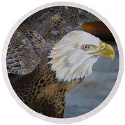 Eagle Landing Round Beach Towel